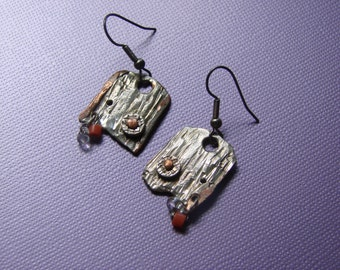 Time in.  Solid Sterling Silver Earrings one of a kind  Art Studio Canada