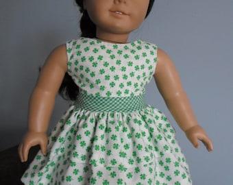 """Shamrock  Dress for 18"""" American Girl Doll"""
