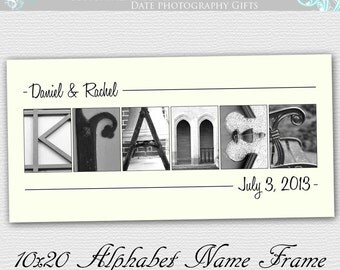 Couples Gift , Alphabet Art , Wedding Gift , Personalized Name Frame Name Sign 10x20 UNFRAMED- Alphabet Letter Photos
