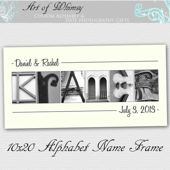 Wedding Gift Alphabet Art : Couples Gift , Alphabet Art , Wedding Gift , Personalized Name Frame ...