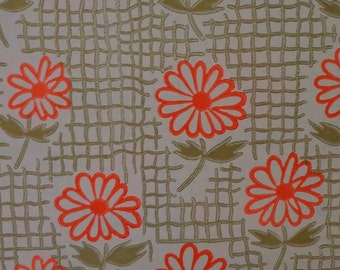 Vintage Gift Wrap 1970s Wrapping Paper Two Sheets--Neon Orange Crazy Daisy