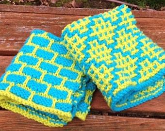 The BEST hand knit wash dish diamond brick you design