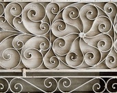 a swirly grate - 5x7 fine art colour black and white or sepia rustic metal flower grate - sand and petals photography