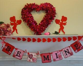 Valentines Day-Be Mine Banner-Valentine Party-Valentines Day Sign-Hearts Banner-Valentines Garland-Valentines Decor-Be Mine Sign-Valentines