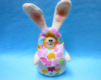 Easter Bunny with Colorful Easter Egg and Felt Flowers, Spring Decoration, Home Decor, Easter, Rabbit, Easter Decoration