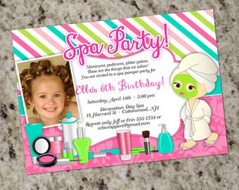 Pamper Birthday Party Invitations | Spa Party Invitation | Glam Spa Pamper Makeover Themed Invitation | Girl Birthday Party Invite