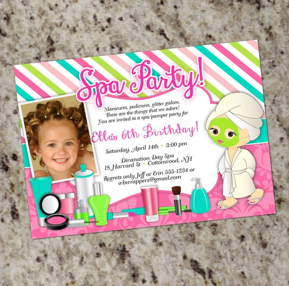 Pamper birthday party invitations spa party invitation glam spa il570xn stopboris Gallery