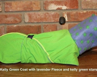 "FREE US SHIPING Kelly Green Dog Coat lined with Lavender Fleece 15""(#00033)Italian Greyhound, Chinese Crested, Min Pin,  Terrier, Small Dog"