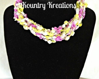 Ladder Yarn Necklace, Purple, Yellow, and White Crocheted Ribbon Necklace, Fiber Jewelry,THE PASTEL  Ladder Necklace (Ready to Ship)