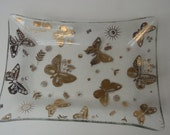Vintage Georges Briard Gold Butterfly Dish Rectangle