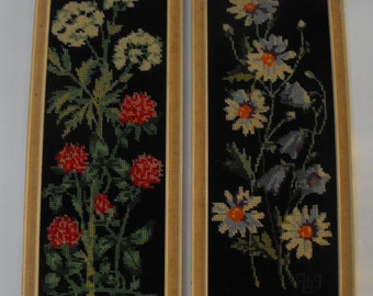 Pair Vintage Needlepoint Framed Pictures Flowers Finland 1960s