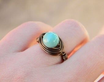 Jade Pearl Ring. To Order - Swarovski Jade Pearl Ring - Mint Brown Rustic Green Melon Jewelry Rings, Pearl Rings, Jewelry Wrapped Pearl Ring