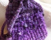 AMETHYST stone chip Medicine Bag Pouch Crocheted PURPLE Bag 9