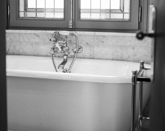 Paris Photography, French Bathroom Art,The Paris Bath, french home decor, black and white art, Powder Room Decor