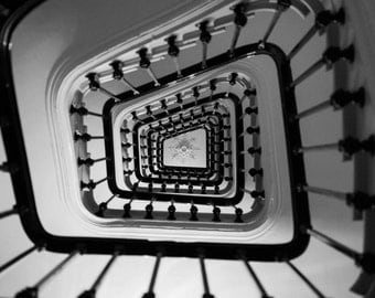Paris Photography - Paris apartment stairs, black and white photography, Paris Decor, Classic Paris, French Wall Art, French Architecture