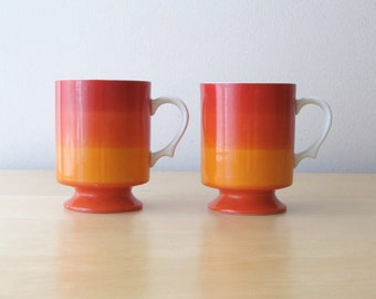red orange ombre coffee mugs mod 1960 striped pedestal cups