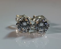 Sterling Silver CZ Earrings .66 Carats each Cubic Zirconia Earrings Stud Post Hearts & Arrows Round Diamond Simulant Wedding Jewelry 1.32ctw