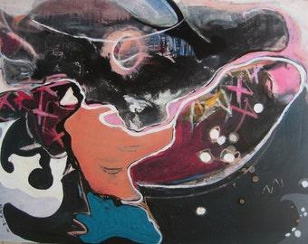 original oceanscape Painting Abstract acrylic Art Original  Modern Landscape painting Orange Pink Blue black Art contemporary