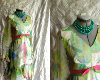 60s Dress // Vintage 1960s Pastel Floral Print  Ruffly Chiffon Dress by Jack Bryan Size L