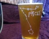 Etched Pint Glass Zodiac Stargazer Constellation - Pisces