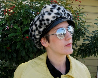 1960s Cheetah Print Mod Cap with Black Leather Bill - Faux Fur