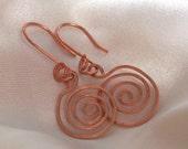 Copper Wire Swirl Earrings