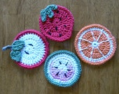 Hand Crochet Fruit Coasters - TheSlipStitch