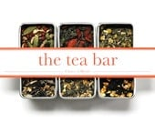 YOU CHOOSE 3 Tea Bar Samples An Organic Collection of Green Black Herbal Teas Great Gift Set Tea Lover Fair Trade Green Yellow Blue Herbs.