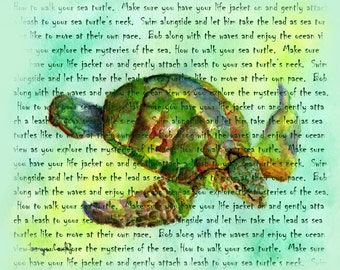 How to walk your Sea Turtle word art by Tamyra Crossley. Digital Download