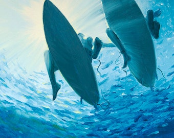 "GICLEE Fine Art Reproduction on 8 1/2"" x 11"" Fine Art Paper - Liquid Sunshine by Daina Scarola (two surfers, underwater, blue ocean)"