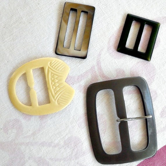 Vintage  Buckles Lucite, abalone, Bakelite, Celluloid Belt Sash Buckles Lot of 4