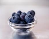 blueberry photograph, blueberries, silver, blue, kitchen wall art, home decor, fruit art, kitchen