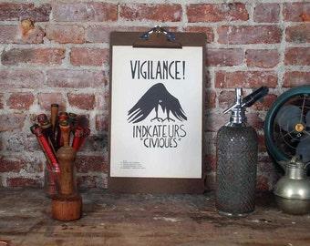 Atelier Populaire Poster Print: La Lutte Continue / Vigilance
