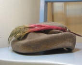 1940s Grey Wool Blend Hat with Pheasant Feather