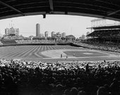 Chicago, Wrigley Field Side View: Black and White Photo