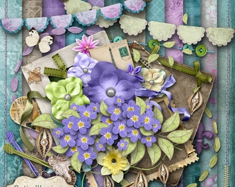 Sweet-Forget-Me-Nots - Digital Scrapbooking Kit - 12 Beautiful Papers - 43 Plus Elements -4.75