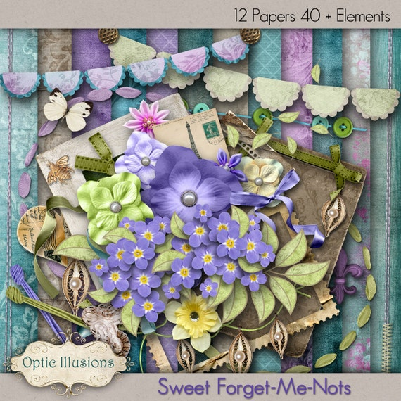 Sweet-Forget-Me-Nots - Digital Scrapbooking Kit - 12 Beautiful Papers - 43 Plus Elements -