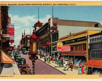 Chinatown At Night and Oriental Bazaars  Antique linen postcard duet 1930's - 40's
