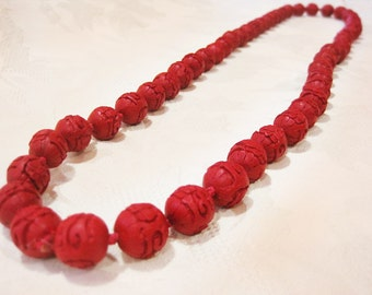 Cinnabar Necklace, Hand Knotted