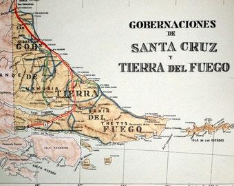 1938 Rare Poster-sized Limited Edition Vintage Map of Santa Cruz and Tierra del Fuego, Argentina. With Malvinas (Falkland Islands)