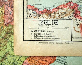 1940 Spanish Vintage Map of Italy - Vintage Italy Map