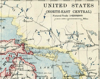 1914 Vintage Map of the United States - Northeast Central Part - Vintage US Map (Northeast)
