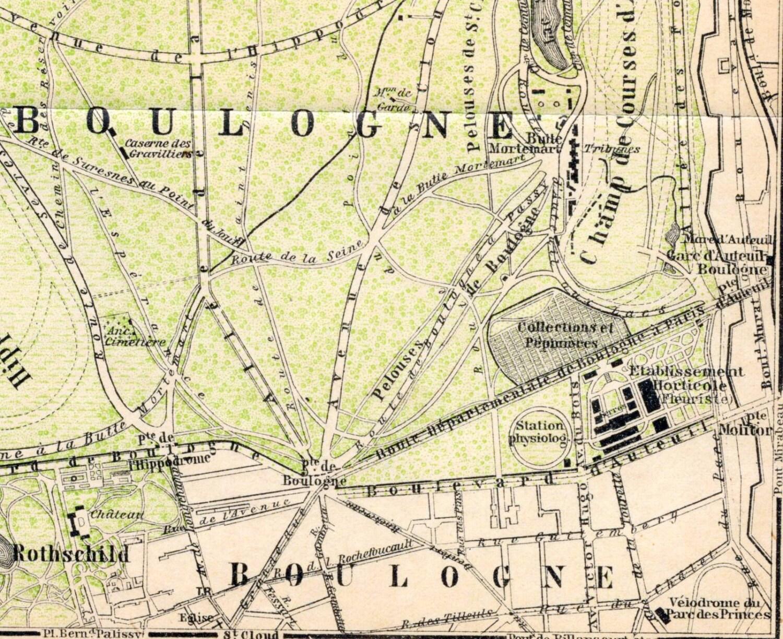 1900 Antique Map of Bois de Boulogne Paris