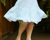 White Organic Cotton Batiste Petticoat Skirt Slip Extender Your Choice of Lace Eco Prairie French Boho Mori Girl Cottage Chic Made to Order