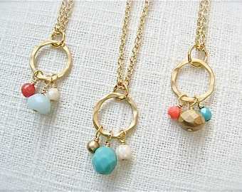 Choose your color.  Matte gold beaded necklace.  Czech glass beads multi color.   Jewelry by Sweet And Simple.