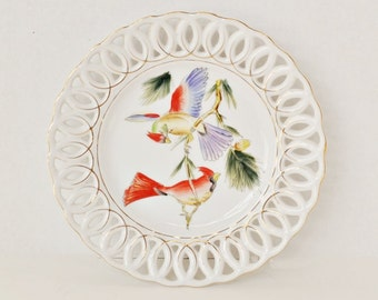 Exotic Birds on Porcelain Reticulated Plate - Hand Painted - Hinode