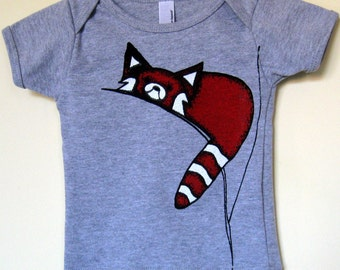 T-shirt for Kids, Bodysuit for Babies-Red Panda on Heather Grey