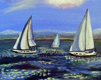 Sailboating On The Columbia River Original Painting Wall Art in Acrylic 10 x 10
