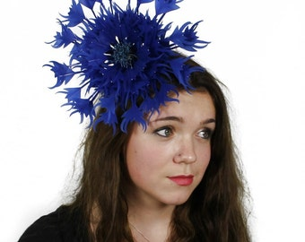 Royal Blue Ascot Flower Fascinator Hat for Weddings, Occasions and Parties With Headband