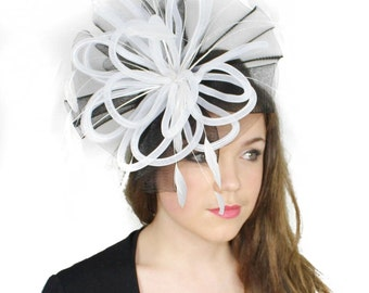 Black/White Fascinator Hat for Weddings, Races, and Special Events With Headband